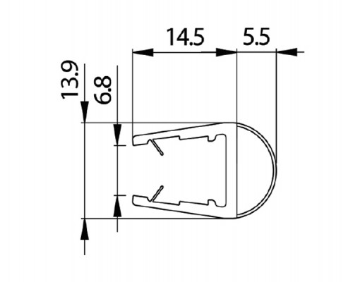 8PT1-10 уплотнитель под стекло 8-10мм. ,L=2.2m.