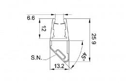 8PT1-60-61 уплотнитель магнитный под стекло 8, 10мм.,L=2.2m.