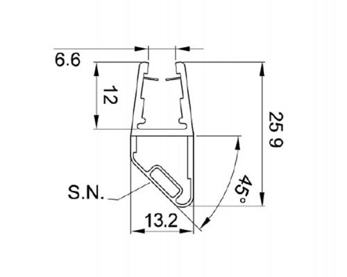 8PT1-60-61 ущільнювач магнітний під скло 8, 10мм., L = 2.5m.